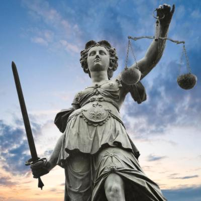 photo of statue entitled Scales of Justice