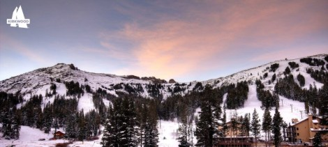 The mountain is beginning to look white this morning at Kirkwood in California. (photo: Kirkwood Mountain Resort)