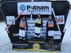 On the podium from left, second place Perrine Laffont (FRA), first place Britteny Cox (AUS) and third place Morgan Schild (USA) after the FIS Putnam Investments Lake Placid Freestyle World Cup moguls competition at Whiteface Mountain in Wilmington, NY on Friday January 13, 2017 (FTO photo: Martin Griff)