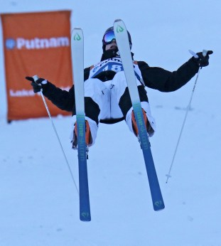 The USA's Bradley Wilson launches into his final jump at the FIS Putnam Investments Lake Placid Freestyle World Cup moguls competition at Whiteface Mountain in Wilmington, NY on Friday January 13, 2017. Wilson podiumed with a third place finish. (FTO photo::Martin Griff)