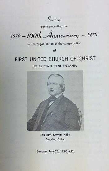 Cover of 100th Anniversary bulletin with picture of Rev. Samuel Hess