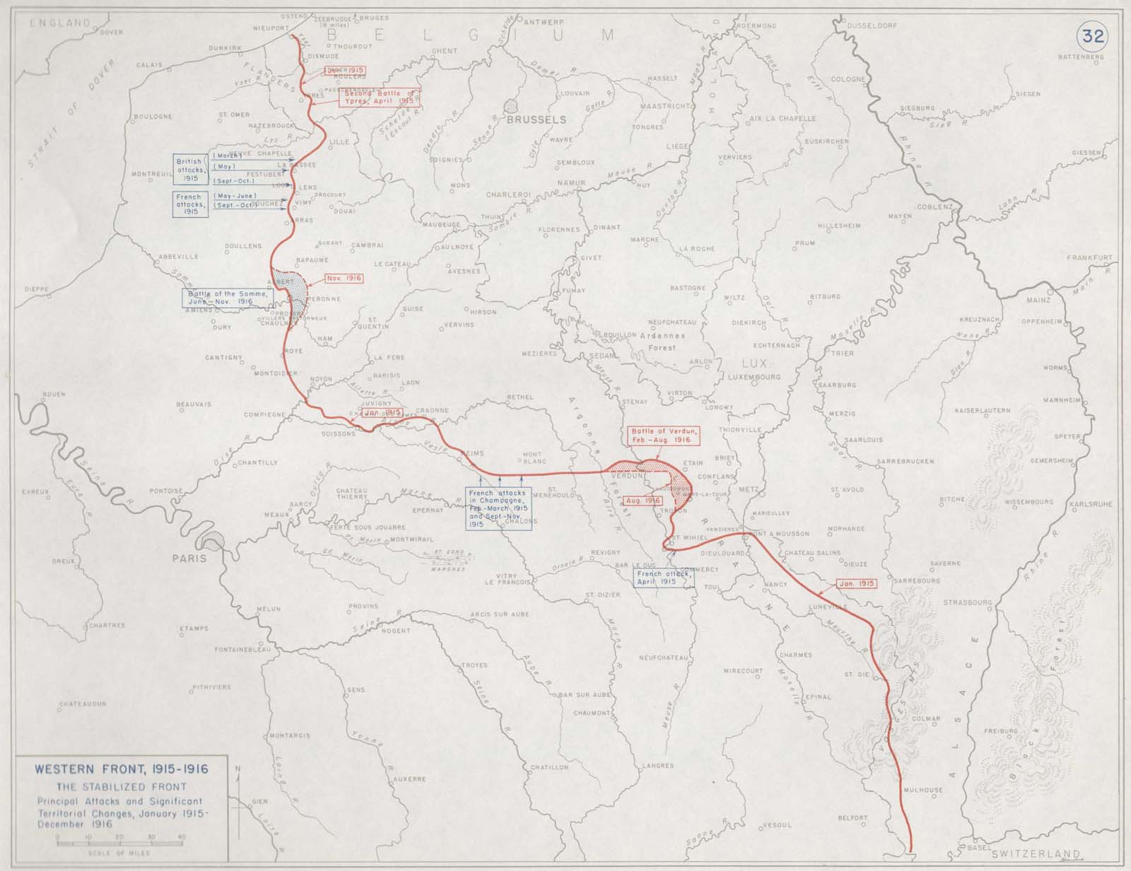 Need a map showing where in Europe the trenches were