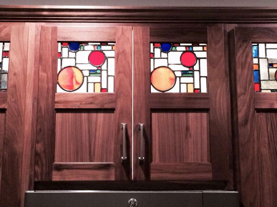 Hickory Cabinet with Stained Glass