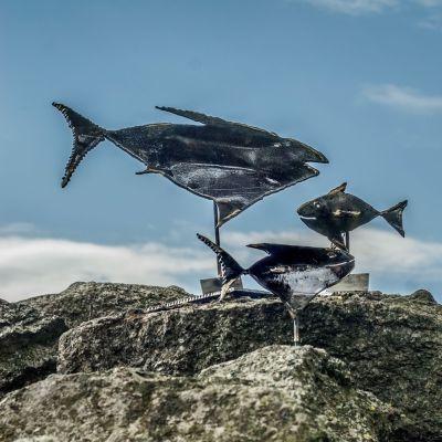 Einzigartige Pokale beim Fischereihafen-Rennen. Foto Sabrina Adeline Hinck