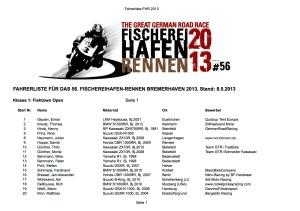 Nennungen Fischereihafen-Rennen 2013