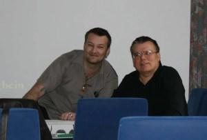 "Lars A. Fischinger & Walter-Jörg Langbein bei den ""Phantastischen Phänomenen"" in Bremen 2012 (Bild: L.A. Fischinger)"