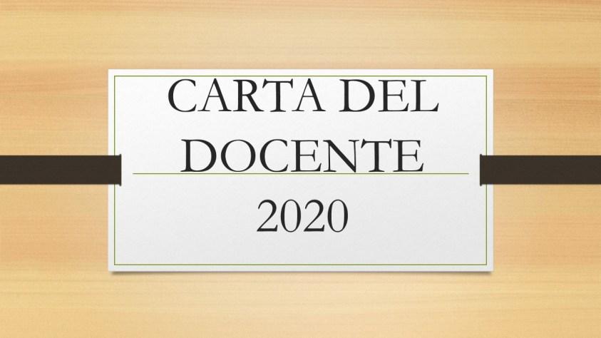 CARTA DEL DOCENTE 2020, FISCOQUOTIDIANO