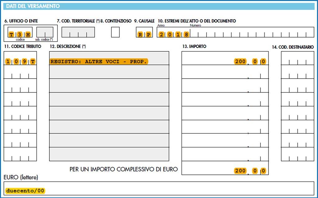 Modello F23 Compilabileregistrazione Contratto Di Comodato