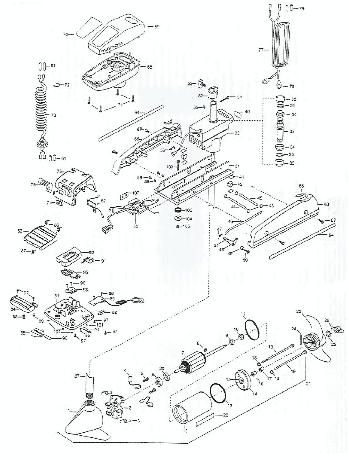 minn kota fortrex 80 parts diagram mazda b2200 radio wiring powerdrive 52 pro 54 inch 2000 from