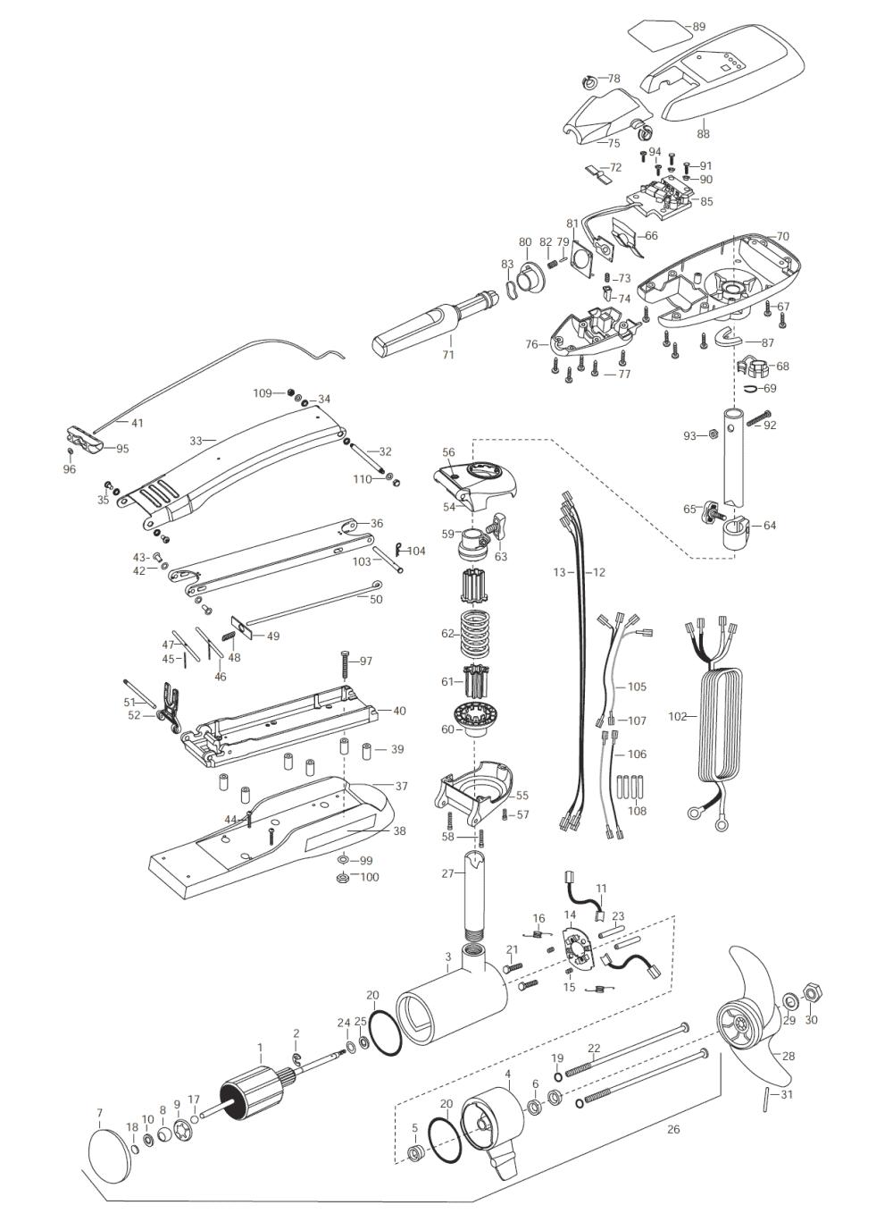 medium resolution of minn kota maxxum 74 hand control 52 inch parts 2003 minn kota 12 volt wiring diagram minn kota wiring schematic