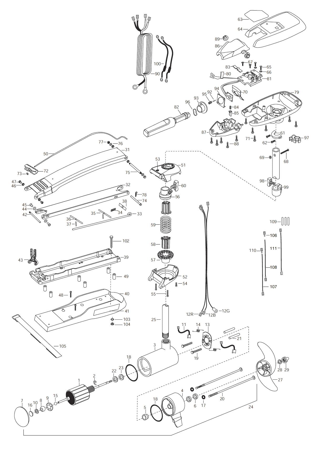 minn kota fortrex 80 parts diagram strip light wiring riptide 101 52 inch 2003 from fish307
