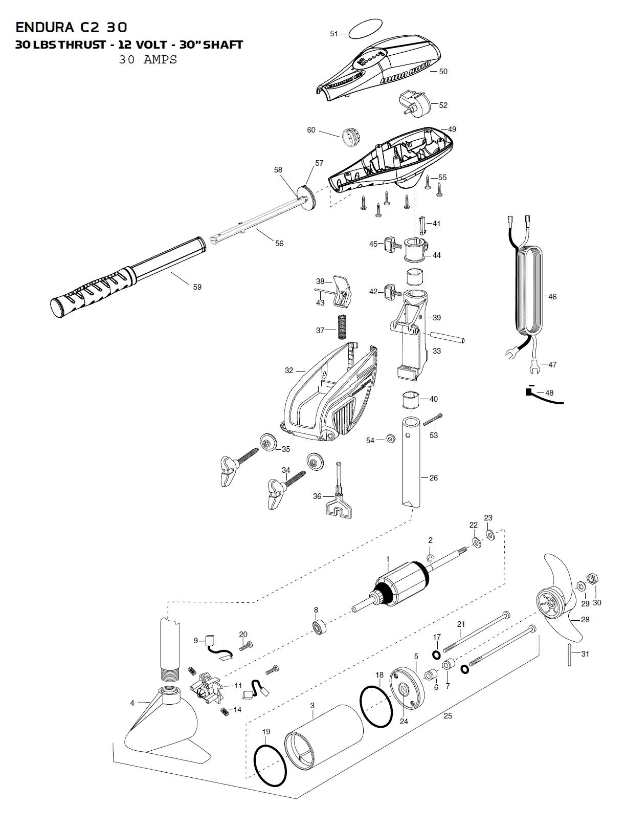 minn kota talon wiring diagram 2003 saab 9 3 radio endura c2 30 parts - 2015 from fish307.com