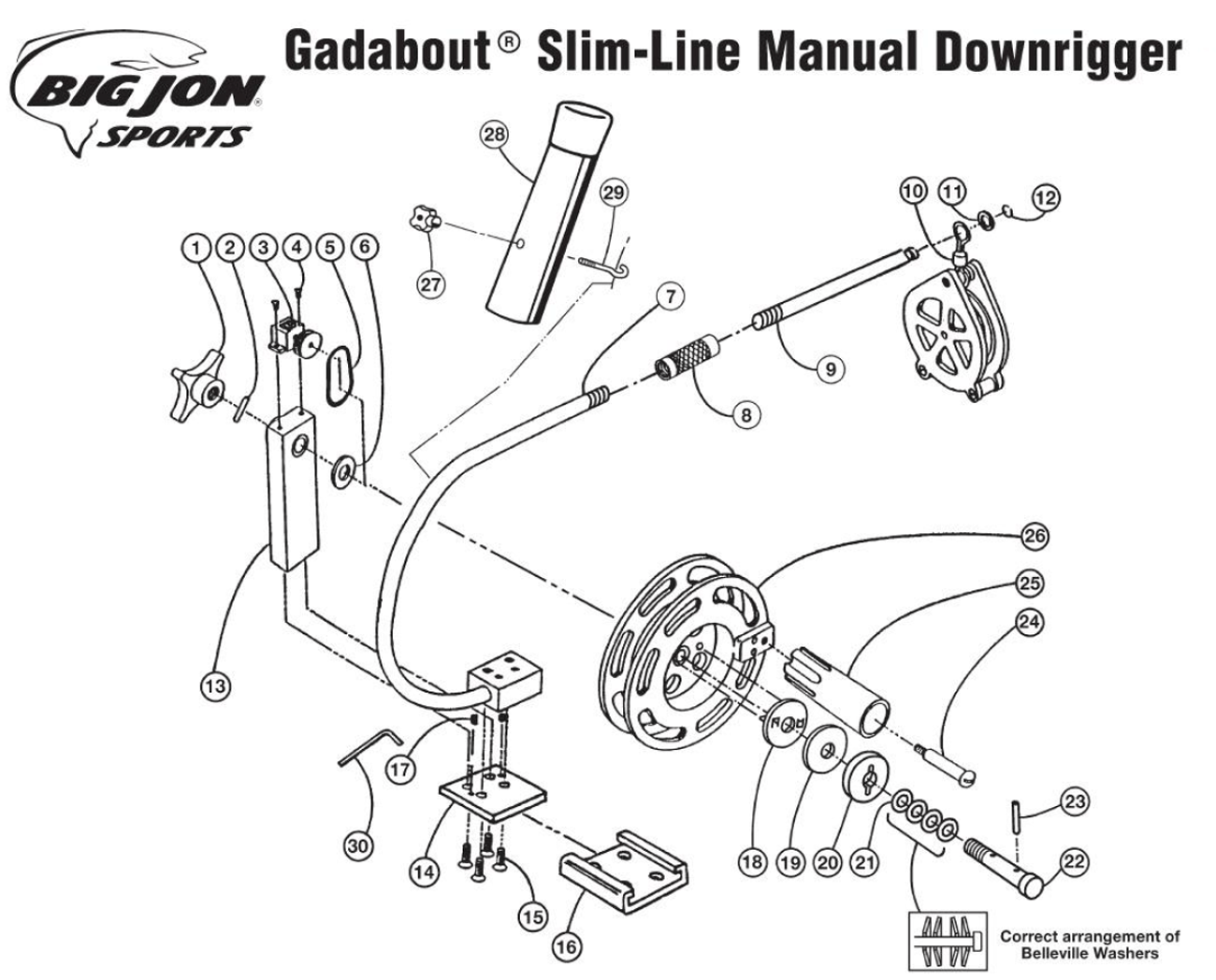 Order Big Jon Gadabout Slim-Line Manual Downrigger parts