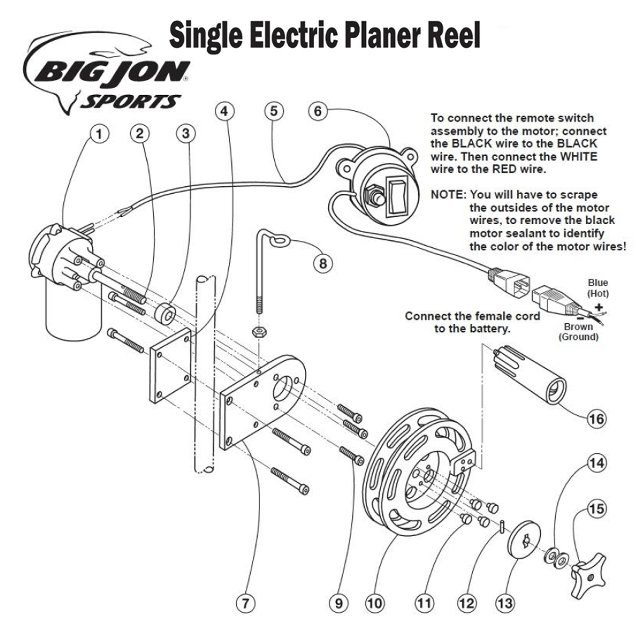 Order Big Jon Single Electric Planer Reel Parts Online