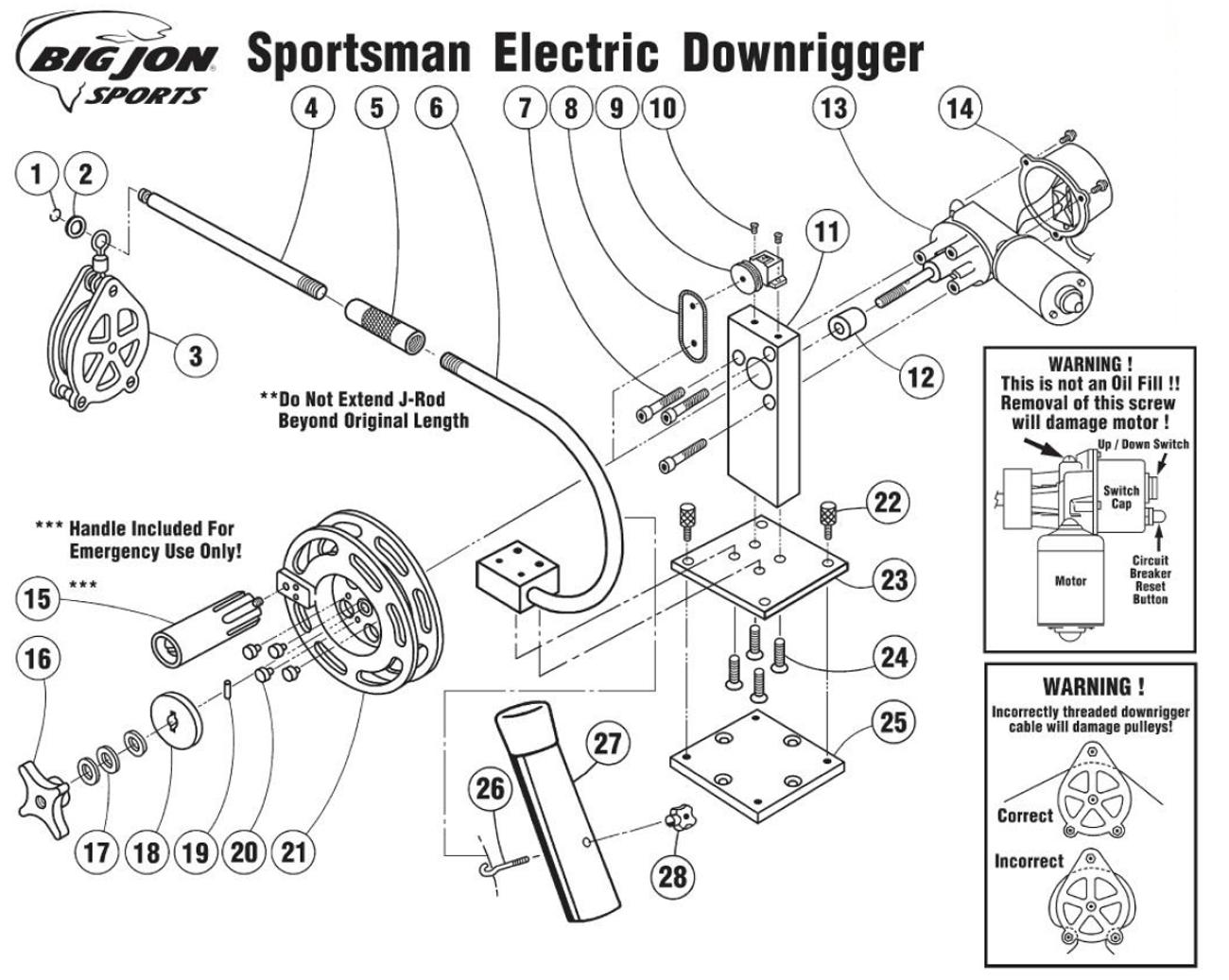 Order Big Jon Sportsman Electric Downrigger Parts online