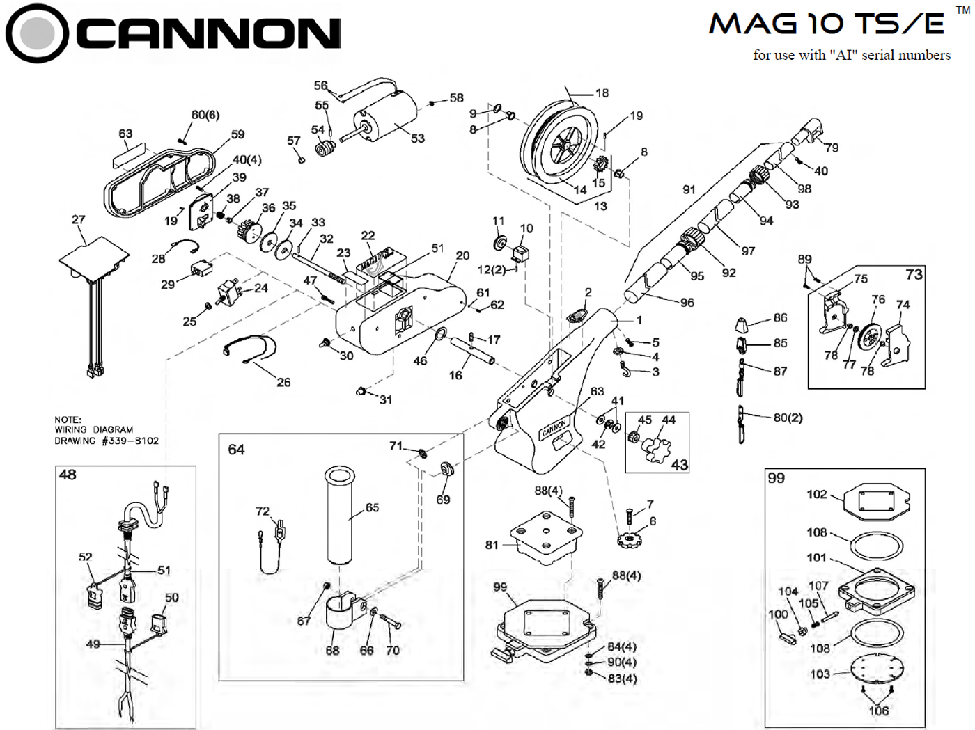 Order Cannon Metric Mag 10 Ts Electric Downrigger Parts
