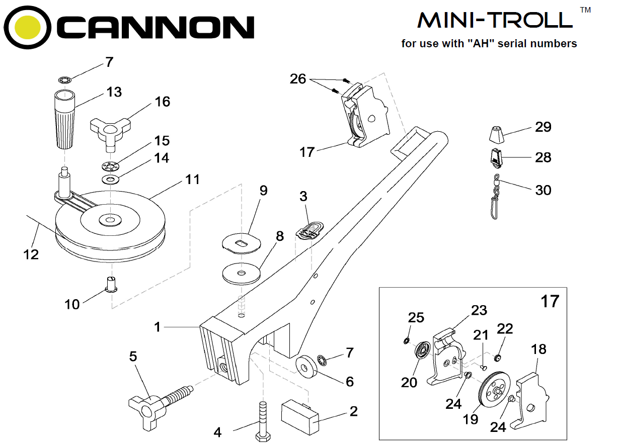 Order Cannon Mini-Troll manual downrigger parts from