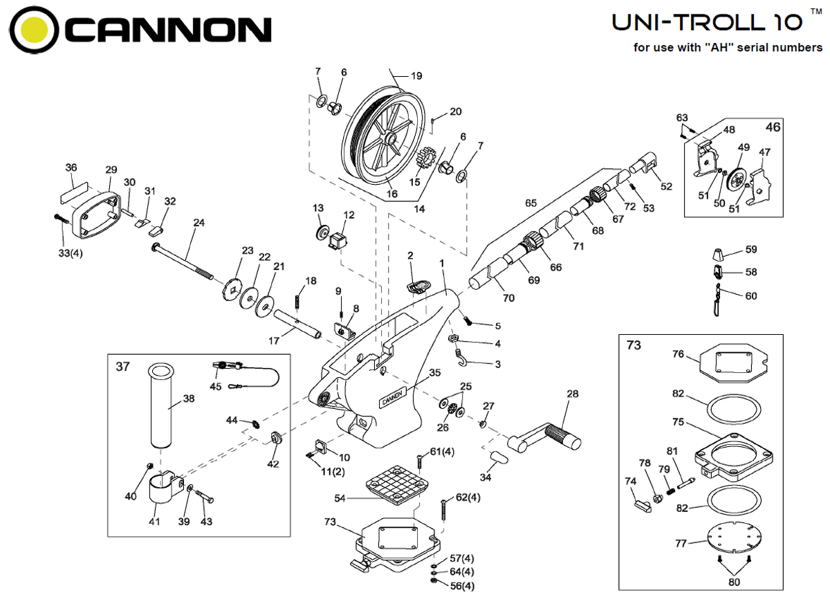 Order Cannon Uni-Troll 10 manual downrigger parts from