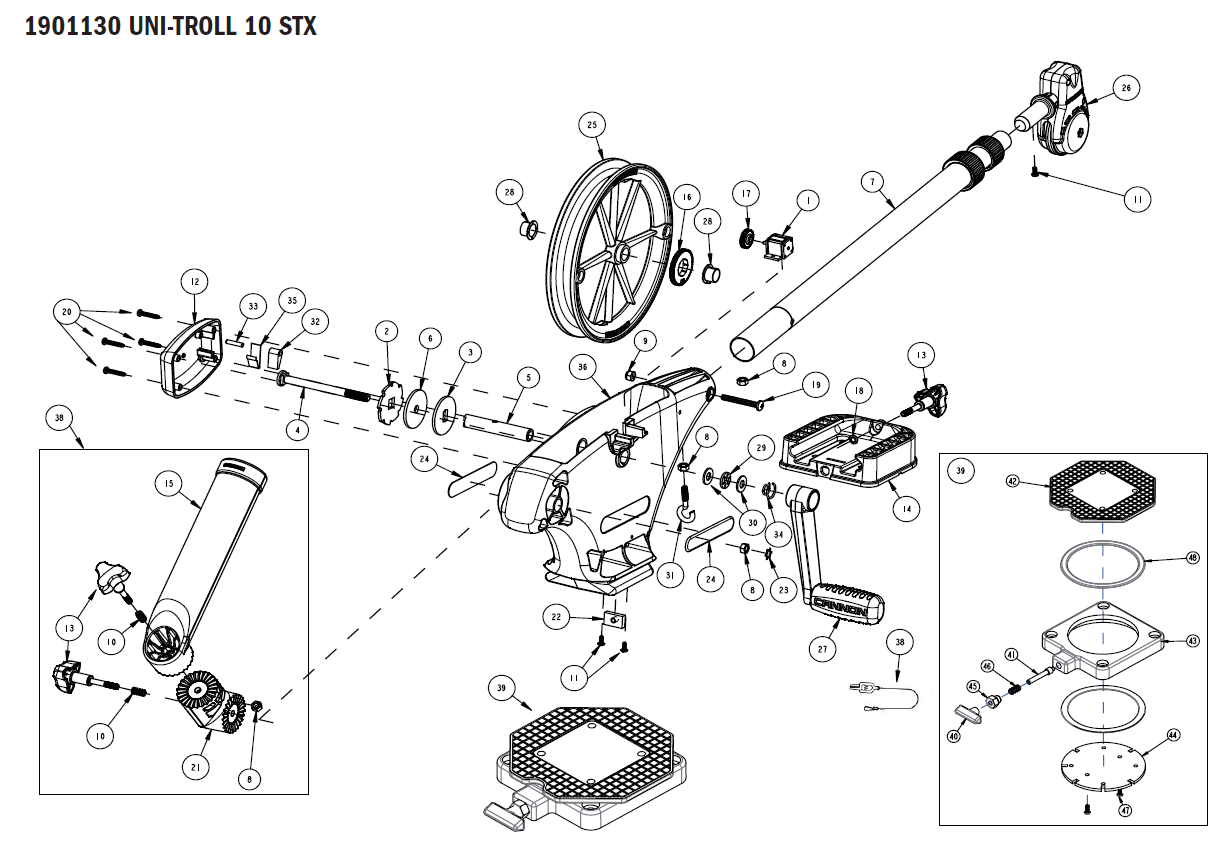 Order Cannon Uni Troll 10 Stx Manual Downrigger Parts From