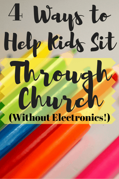 It's tough teaching kids how to sit still and be reverent during church. I've physically carried a screaming child out of a church service more than once - and I'm the pastor's wife. Here are 4 tried and true ways to help kids make the transition from the nursery to big church without electronics!
