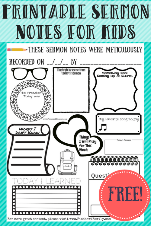 Free Printable Sermon Notes for Kids to help kids sit through church without electronics