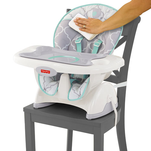 space saving high chair sky blue covers fisher price deluxe spacesaver chairs cjt22 prices