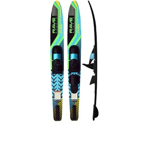rave pure lime combo water skis, competition water skis, obrien skis, rave sports, slalom water ski, rave combo water skis