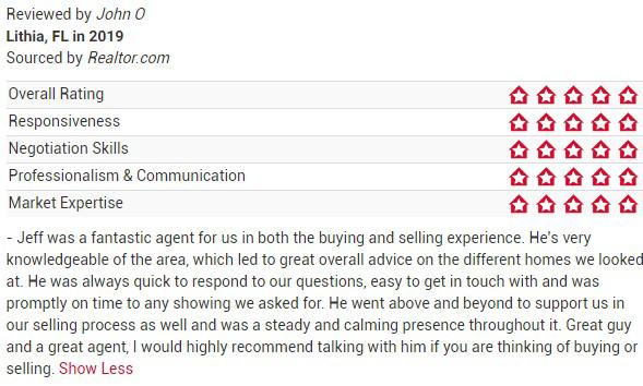 Jeff Gould Realtor.com Testimonial John O For FishHawk Real Estate