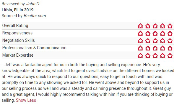 Jeff Gould Realtor.com Testimonial John O For FishHawk Real Estate