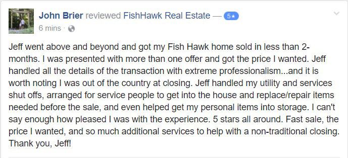 Testimonial of Jeffrey Gould FishHawk Realtor by JB
