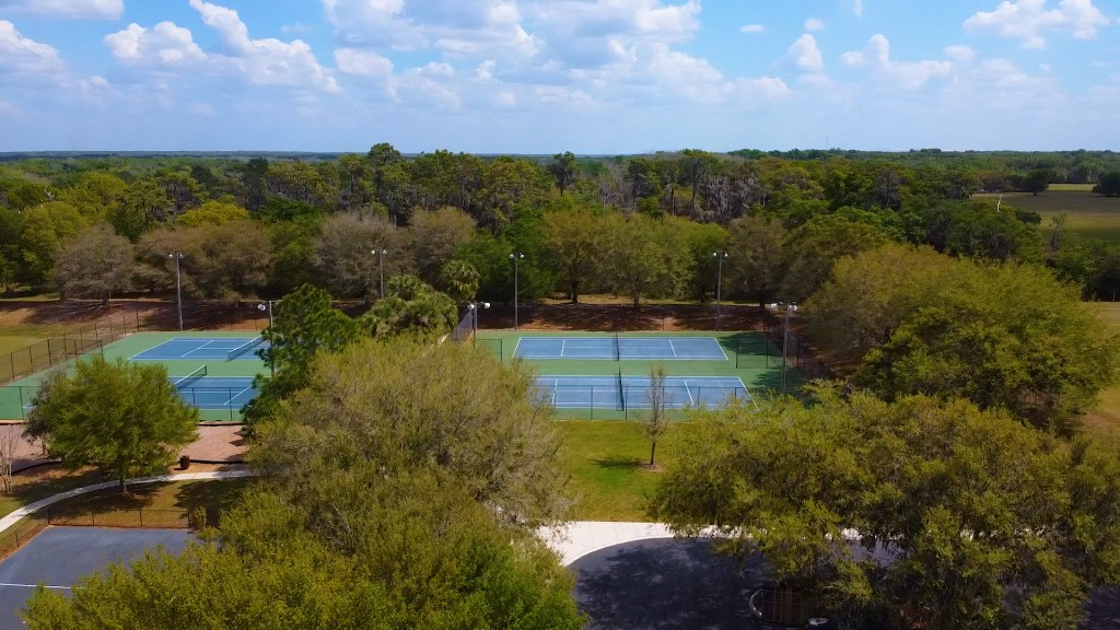 Drone view of the Fish Hawk Trails community tennis courts