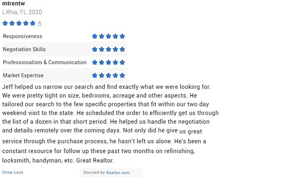 Jeff Gould Realtor.com Testimonial for Realtor Jeff Gould by Trent W