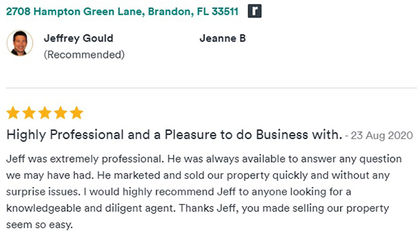 Jeff Gould Rate My Agent Testimonial by Jeanne B