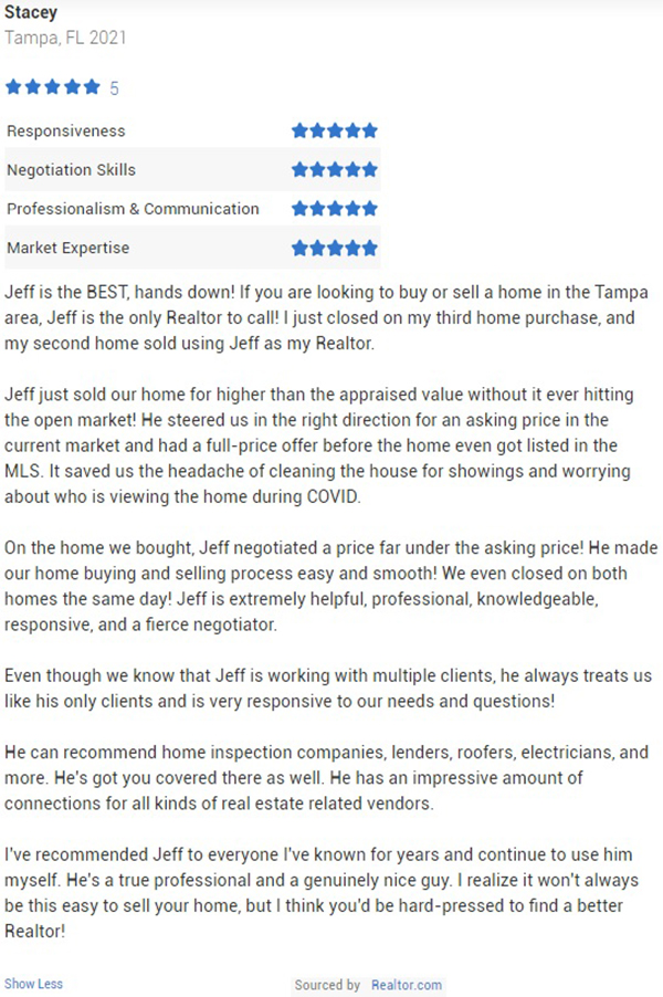 Jeff Gould Realtor.com Testimonial for Realtor Jeff Gould by Stacey