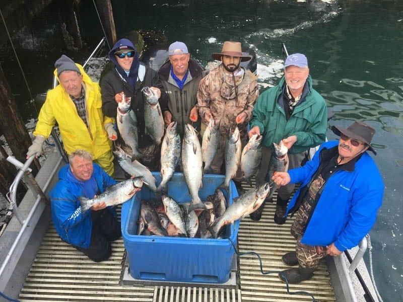 Littleton Group limits out with King Salmon on Fish N' Chips Charters - Kodiak Island - Alaska