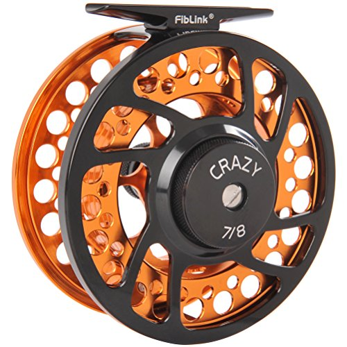Fiblink Fly Fishing Reels with Large Arbor 2+1 BB, CNC machined Aluminum Alloy Body and Spool in Fly Reel Sizes 5/6, 7/8