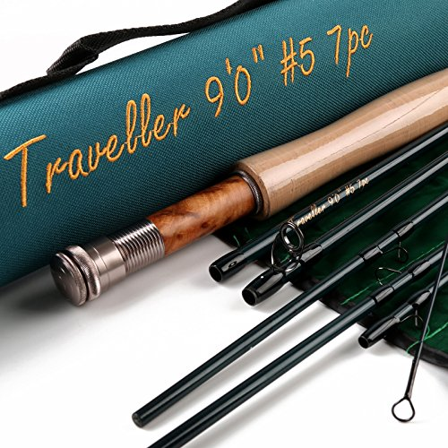 Maxcatch for Traveler 7-piece Fly Rod IM10 Carbon Travel Rod Fly Fishing with Cordura Tube(Size:5/6/8 wt)