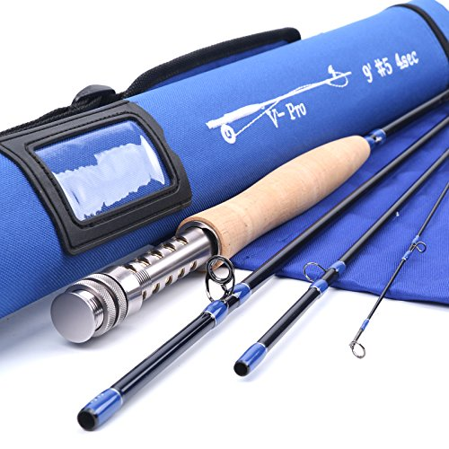 Maxcatch V-pro Fly Rod IM10 Graphite 4-piece Fly Fishing Rod with Cordura Tube(Size:4/5/6/8 wt)