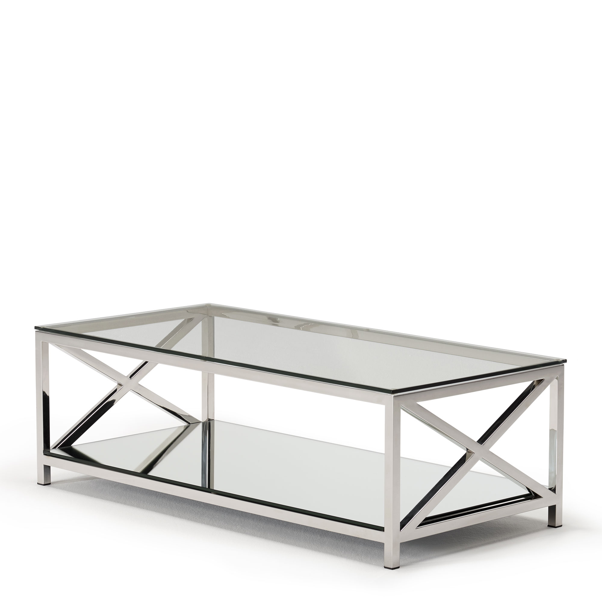 lucia coffee table with glass top stainless steel frame
