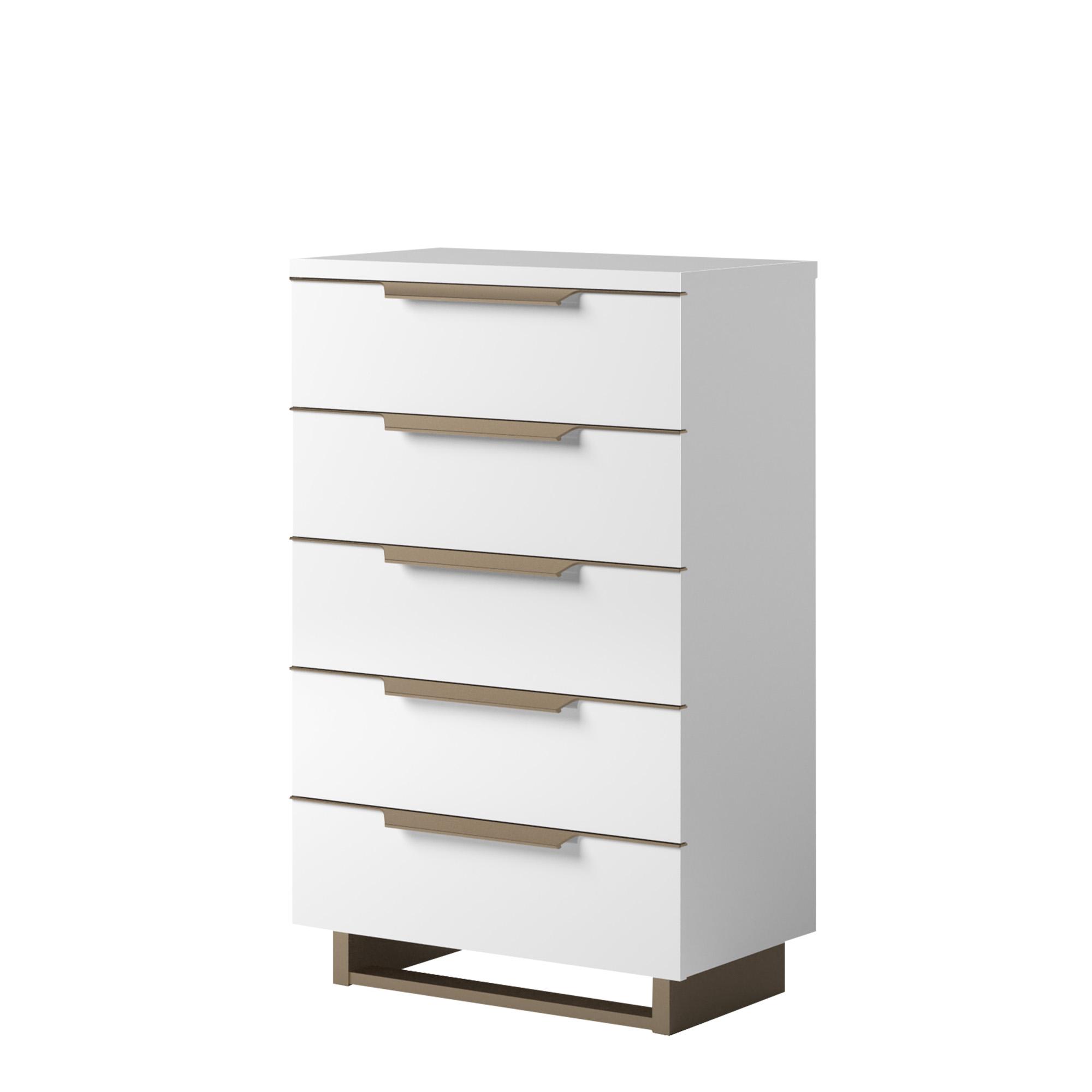 sahara tall boy 6 drawer chest in white gloss finish