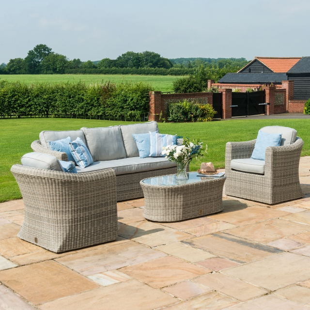 wicker sofa sets uk black leather sleeper set oyster bay grey 3 seater rattan fishpools bay3 seat light garden