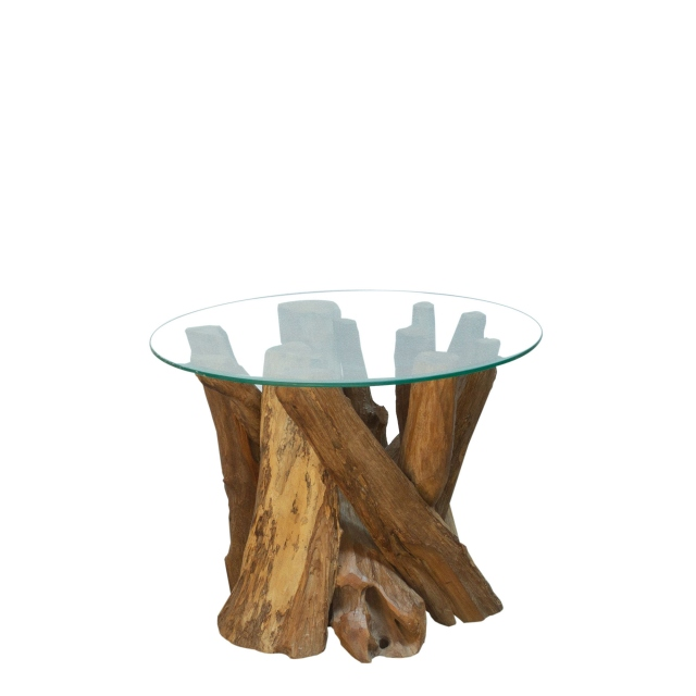 twiggy round coffee table with glass top