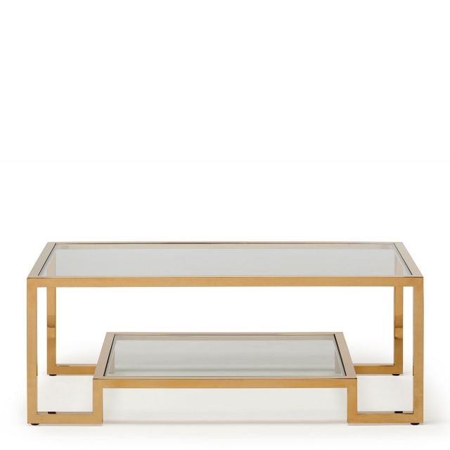 frame coffee table clear glass champagne finish frame
