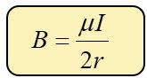 Fórmula de campo magnético producido por una espira