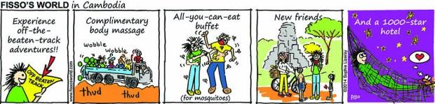 Fissos World in Cambodia cartoons remote location adventures