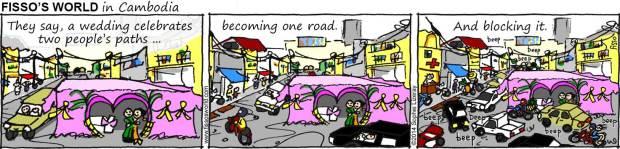 Fissos World in Cambodia cartoons wedding blocks road