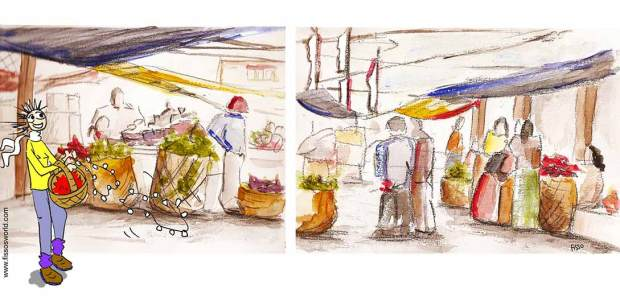 Shopping Thimpu Market Bhutan Fissos World TRavel Sketch cartoon