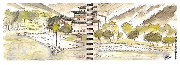 PUNAKHA DZONG BHUTAN travel sketch Fissos World