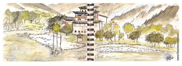 PUNAKHA DZONG BHUTAN travel sketch Fissos World