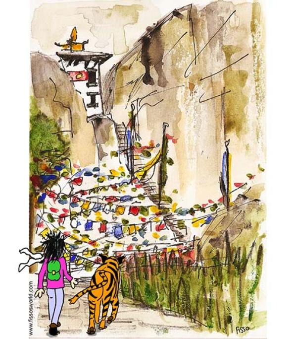 TAKTSANG TIGER'S NEST MONASTERY Fissos World Cartoon travel sketch